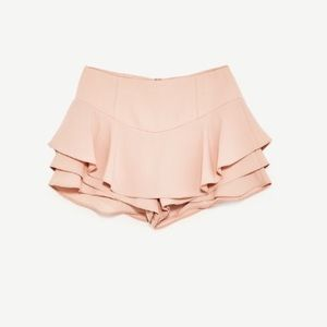 Zara Shorts - Zara Layered Ruffle Pastel Dusty Pink Mini Skort